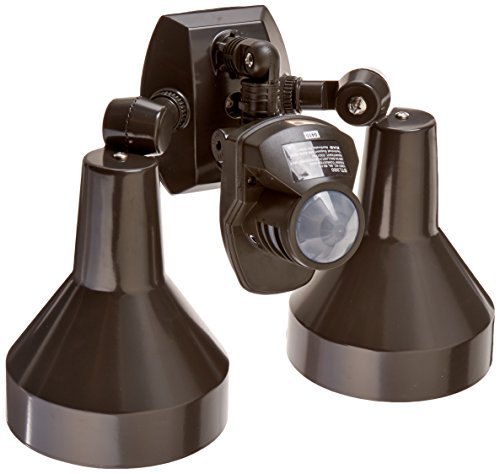 RAB Lighting STL360H Super Stealth 360 Sensor with Twin Precision Die Cast H101 Deluxe Shielded Bell Floods, 360 Degrees View Detection, 1000W Power, 120V, Bronze Color from RAB Lighting
