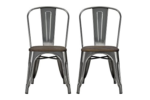 DHP Fusion Metal Dining Chair with Wood Seat, Distressed Metal Finish for Industrial Appeal, Set of two, Antique Gun -