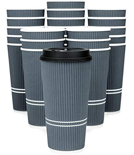 Price comparison product image Glowcoast Disposable Coffee Cups With Lids - 22 oz To Go Coffee Cup With Lid (50 Set). Large Togo Travel Paper Ripple Hot Cups Insulated For Hot,  Cold Beverage Drinks,  No Sleeves Needed (Dusk Grey)