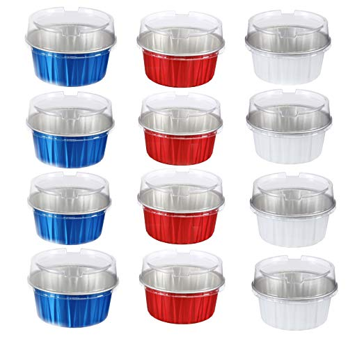 American Flag colors Limited Edition-12 Disposable Colorful Aluminum Cupcake Cups AND 12 LIDS. 3 COLORS- 4 BLUE, 4 RED,4 WHITE 4.2OZ.100% Microwave SAFE!
