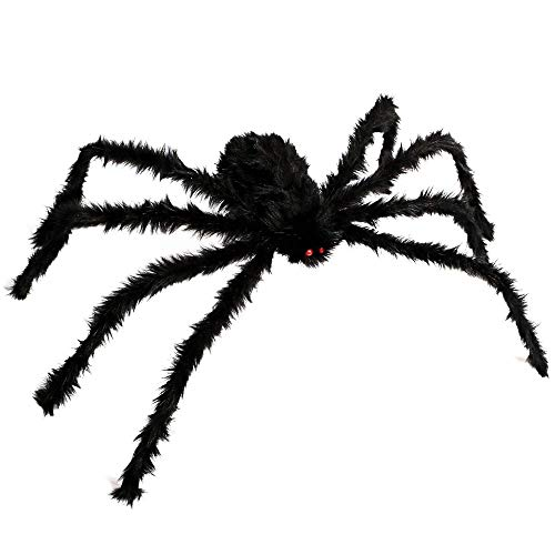 (ZALU Giant Black Spider Halloween Spider and Plush Scary Spider Toys for Kids Halloween Party Decorations or Haunted House Decor(1 Pack))