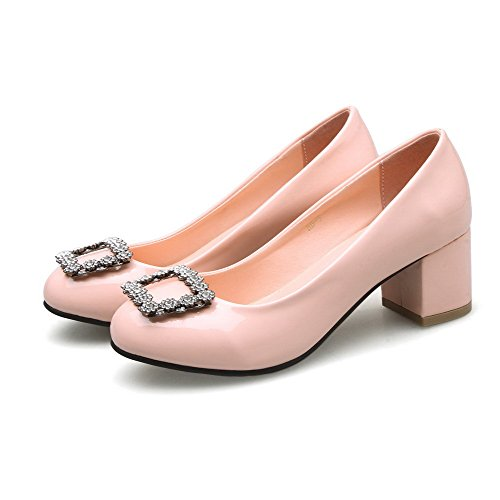 VogueZone009 Damen Rund Zehe Mittler Absatz Weiches Material Rein Ziehen auf Pumps Schuhe, Pink, 38