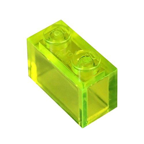 LEGO Parts and Pieces: Transparent Neon Green 1x2 Brick x50