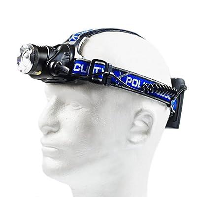 Police Security ELITE BLACKOUT T6 LED 465 Lumen Headlamp for Camping, Walking, Fishing