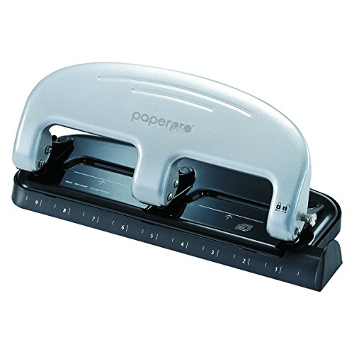 3 Hole Paper Punch (PaperPro inPRESS 20 Reduced Effort Three-Hole Punch, Silver, Black (2220))