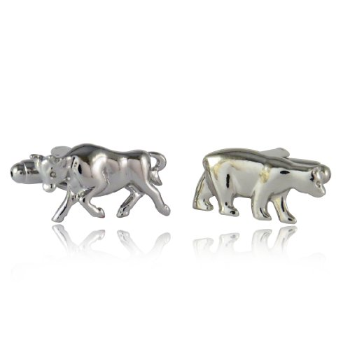 Cuff-Daddy Bull \ Bear Cufflinks Silver 000 with Presentation Box (Bull Bear Cufflinks)