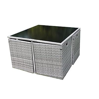 Stratford 4 Seater Garden Rattan Cube Dining Set Grey
