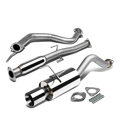 For Honda Civic EH 3dr Hatchback Stainless Steel 4 inches Rolled Muffler Tip Catback Exhaust System