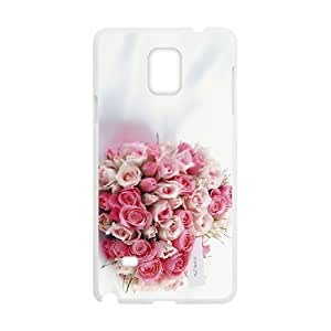 wugdiy New Fashion Hard Back Cover Case for Samsung Galaxy Note 4 with New Printed Happy flowers
