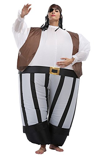 [Costhat Inflatable Caribbean Pirate Suit Cosplay Adult Costume Blowup Fancy Party Dress] (Up Fancy Dress Costumes)