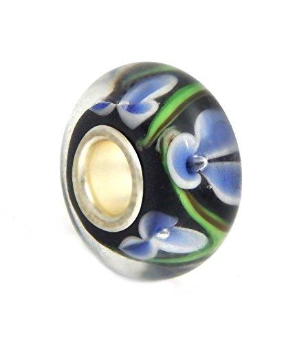 J&M Handmade Purple Orchid Flowers Murano Glass Charm Bead for ()