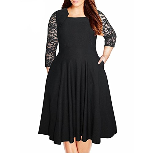 Womens Dress, Gillberry Women Plus Size Lace Party Evening Ladies Short Mini Dress (M, Black) - Noodle Lace