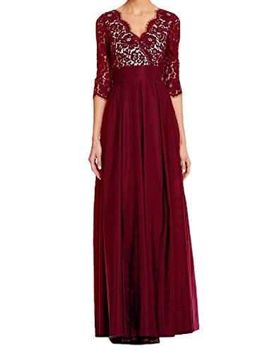 der Braut Frauen lange halbe Burgund eine Kleid Linie rmel Chiffon Mutter HWAN 8xzRqwOq
