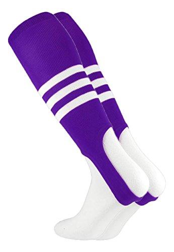 (MadSportsStuff Baseball Stirrups by TCK Pattern B (Purple/White, Medium))