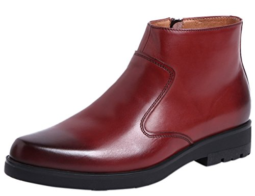 Casual Chelsea Chukka Boots Zipper Leather Formal Ankle Boots by Red 8.5 D(M) US ()