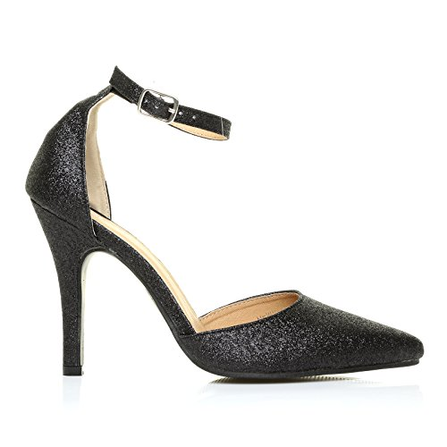New York Black Glitter Ankle Strap Pointed High Heel Court Shoes vdQHjL