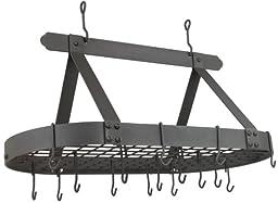 Old Dutch Oval Steel Pot Rack w. Grid & 16 Hooks, Graphite, 36\