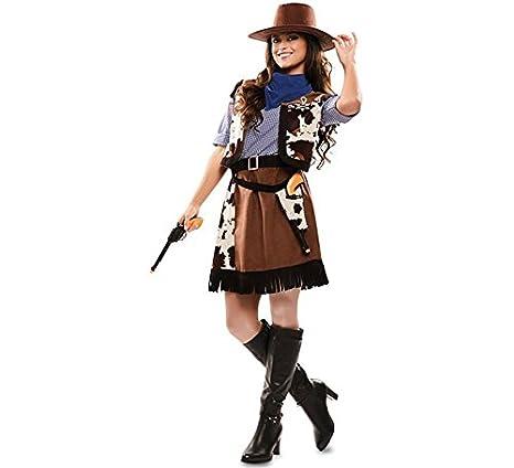 b22605fc79 Disfraz de Vaquera con estampado vaca para mujer  Amazon.es  Juguetes y  juegos