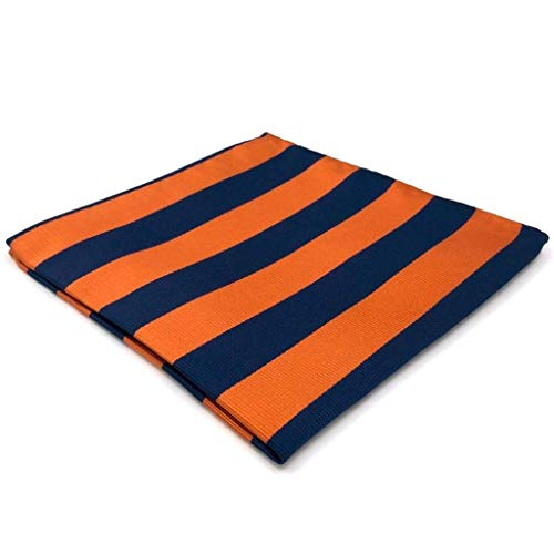 (SHLAX&WING New Blue Orange Striped Neckties for Men Tie Set Business Matching Pocket Square)