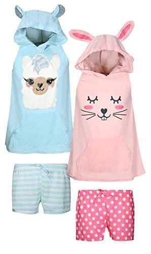 dELiA*s Girls 4-Piece Summer Pajama Short Set with Animal Charcater Hood, Llama/Bunny, Size - Tank Girls Pajamas