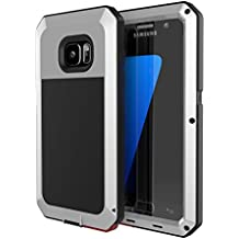 Galaxy S7 Case, Tomplus [Newest] Extreme Hard Luxury Aluminum Alloy Protective Metal Full-body Rugged Holster Case with Built-in Gorilla Glass Screen Protector for Samsung Galaxy S7 (Silver)
