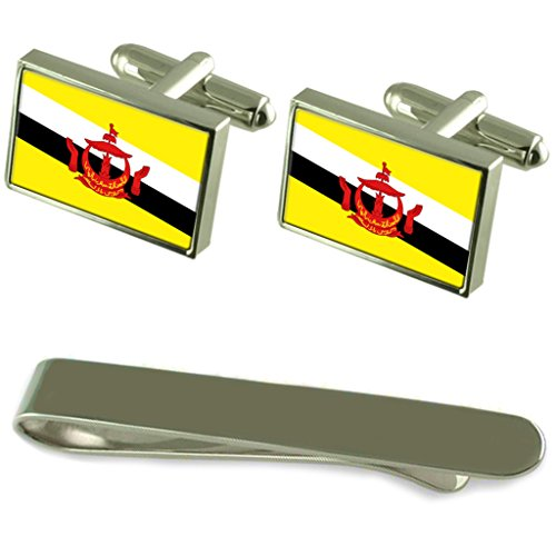 Brunei Flag Silver Cufflinks Tie Clip Engraved Gift Set by Select Gifts