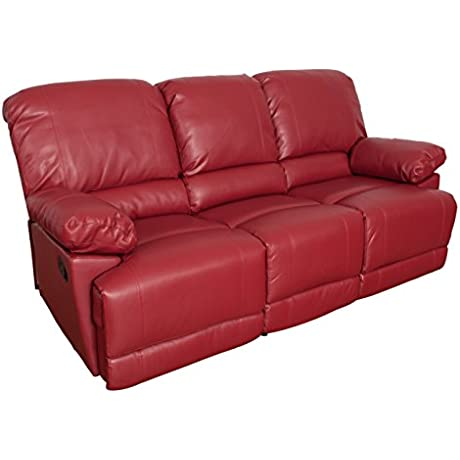 CorLiving LZY 351 S Lea Leather Reclining Sofa Red