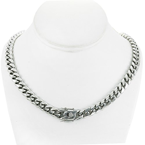 Bling Bling NY Solid Silver Finish Stainless Steel 10mm Thick Miami Cuban Link Chain Box Clasp Lock (Chain 24'')