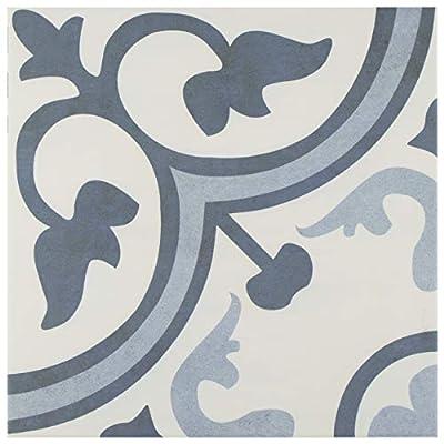 "SomerTile FCG12AMA Canton Ceramic Floor and Wall Tile 12.38""x12.38"" Azul 10 Piece"