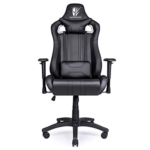 GAMING - Silla gamer oficina gaming, sillon escritorio ergonomico despacho giratoria color negro, reclinable ajustable con reposabrazos, 5 ruedas