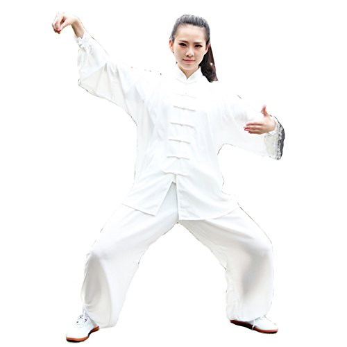 Itopfox Unisex Cotton Blend Kung Fu Tai Chi Uniform Martial Arts Wear White XXL