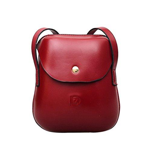 Dabixx moda donna mini borsa borsetta portamonete in sacchetto telefono cellulare borsa a tracolla case-pink, Wine Red, 17x6x19cm/6.69x2.36x7.48 Wine Red