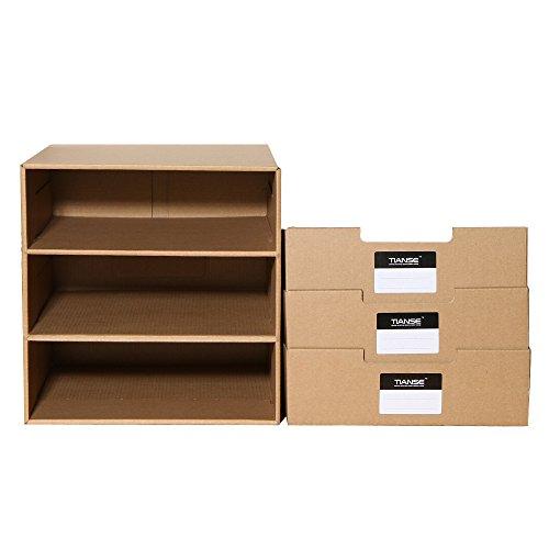 Tianse Cardboard Drawer Box Desk Organizer Box With 3