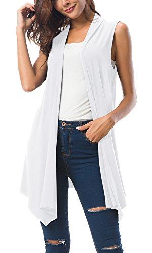 Women's Sleeveless Draped Open Front Cardigan Vest Asymmetric Hem (XL, White) (Solid Clip White)
