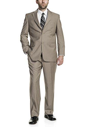 (P&L Men's Two-Piece Classic Fit Office 2 Button Suit Tuxedo Blazer Jacket & Pleated Pants Set Tan)