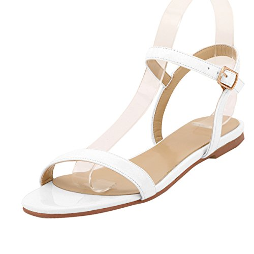 ZriEy women's New Style Flat Sandals Sexy Ankle Strap Buckle Low heel Shoes White size 8.5 - Sexy Buckle