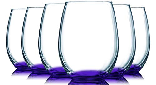 Purple Bottom Accent 21 oz Stemless Wine Glasses – Set of 6 by TableTop King – Additional Vibrant Colors Available