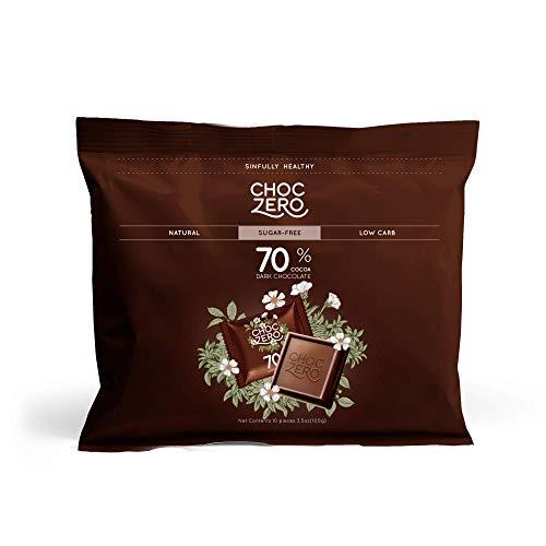 ChocZero 70% Dark Chocolate, Sugar free, Low Carb. No Sugar Alcohol, No Artificial Sweetener, All Natural, Non-GMO - (6 Bags, 60 pieces)
