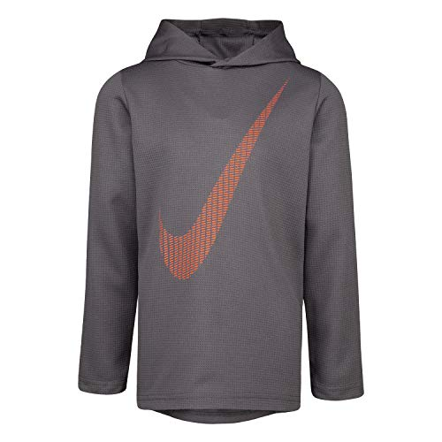 NIKE Children's Apparel Boys' Toddler Long Sleeve Hooded T-Shirt, Dark Grey/Crimson, 4T (Nike Waffle Shirt)
