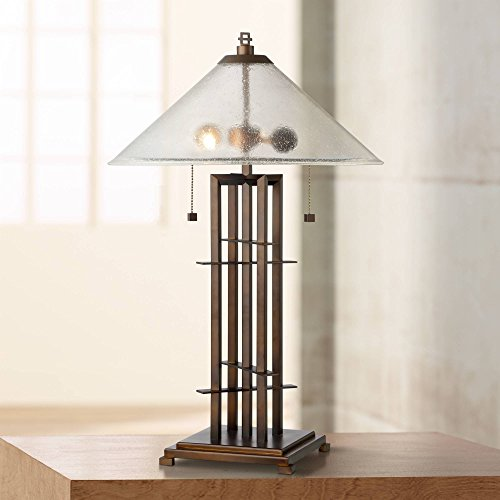 Metro Modern Industrial Table Lamp Bronze Metal Conical Seedy Glass Shade for Living Room Family Bedroom Bedside - Possini Euro - Table Lamp Metro Collection