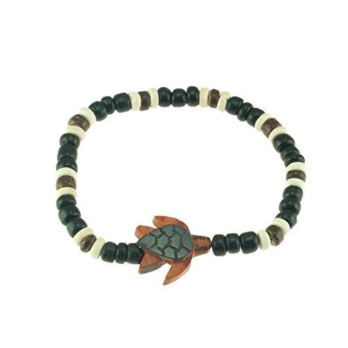 Coconut Bracelet Shell Stretch (Shell & Wood Sea Turtle on Stretch Elastic Coconut Wood Beaded Bracelet (Black))