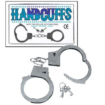 Fun Express Metal Double Lock Handcuffs with Keys (1 Piece) - Metal Handcuffs