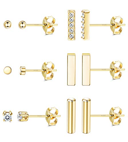 Adramata 6 Pairs 925 Sterling Silver Bar Dot Stud Earrings Set for Women Cubic Zirconia Tiny Round Earring Set Gold