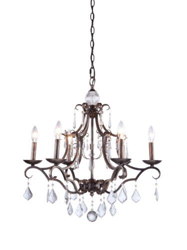 Artcraft Lighting Vintage 6-Light Chandelier, Dark Brown Artisan Traditional Chandelier