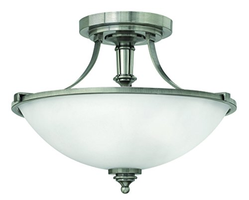Hinkley 4021AN Transitional Three Light Semi-Flush Mount from Truman collection in Pwt, Nckl, B/S, Slvr.finish, ()