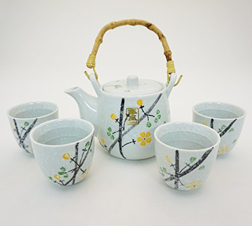 Japanese White Snow Cherry Blossom Sakura Tea Set Ceramic Teapot with Rattan Handle and 4 Tea Cups Asian White Tea Tea