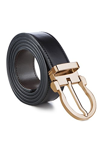 Mark Fred 100% Leather Dress Belt Grade A Genuine Italian Leather Reversible, Black/Brown Strap Gold Buckle, Medium
