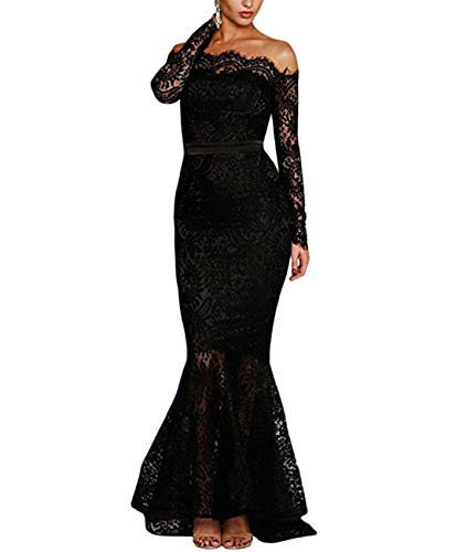 Lalagen Women's Floral Lace Long Sleeve Off Shoulder Wedding Mermaid Dress Eyelash L Black ()