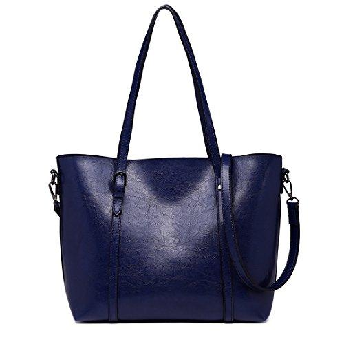 Navy Pu Shoulder Handle Lulu Women 6709 Bags Adjustable Purse Leather Top Ladies Handbag for Miss 16FIqSx