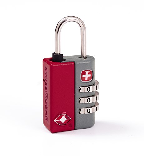 (SwissGear TSA-Approved Travel Sentry Combination Luggage Lock with Resettable Combo and Inspection Indicator, Red, One Size)